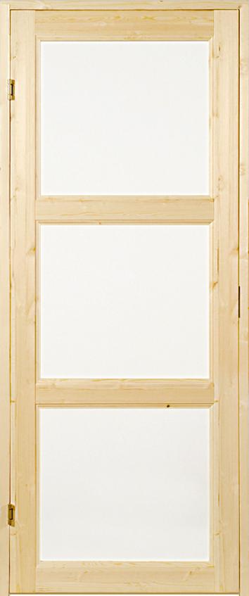 Saunan ovi kolmella lasilla